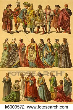 Stock Photo - 15th century italian  costumes. fotosearch  - search stock  photos, pictures,  wall murals, images,  and photo clipart