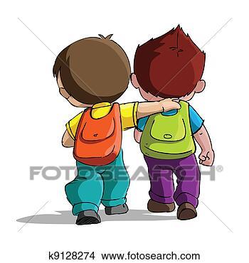Archivio Illustrazioni - bambini, andare,  scuola. fotosearch  - cerca clipart,  poster, disegni  e immagini grafiche  eps vettoriali