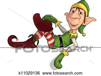 Stock Illustration - christmas elf  laying on an edge.  fotosearch - search  clipart, illustration  posters, drawings  and vector eps  graphics images