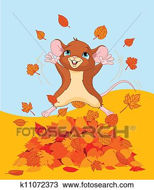 Drawing - happy fall mouse.  fotosearch - search  clipart, illustration  posters, drawings  and vector eps  graphics images