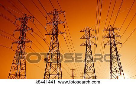 Arquivo de Fotografia - elétrico, poder,  transmissão, linhas,  pôr do sol. fotosearch  - busca de fotos,  imagens e clipart